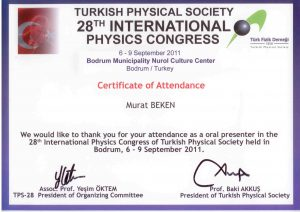 28TURKİSH PHYSICAL SOCIETY