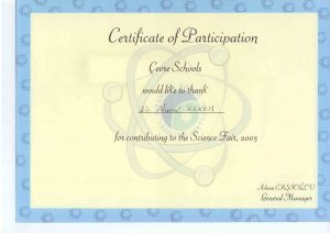 CERTIFICATE OF PARTICIPATION ÇEVRE SCHOOLS
